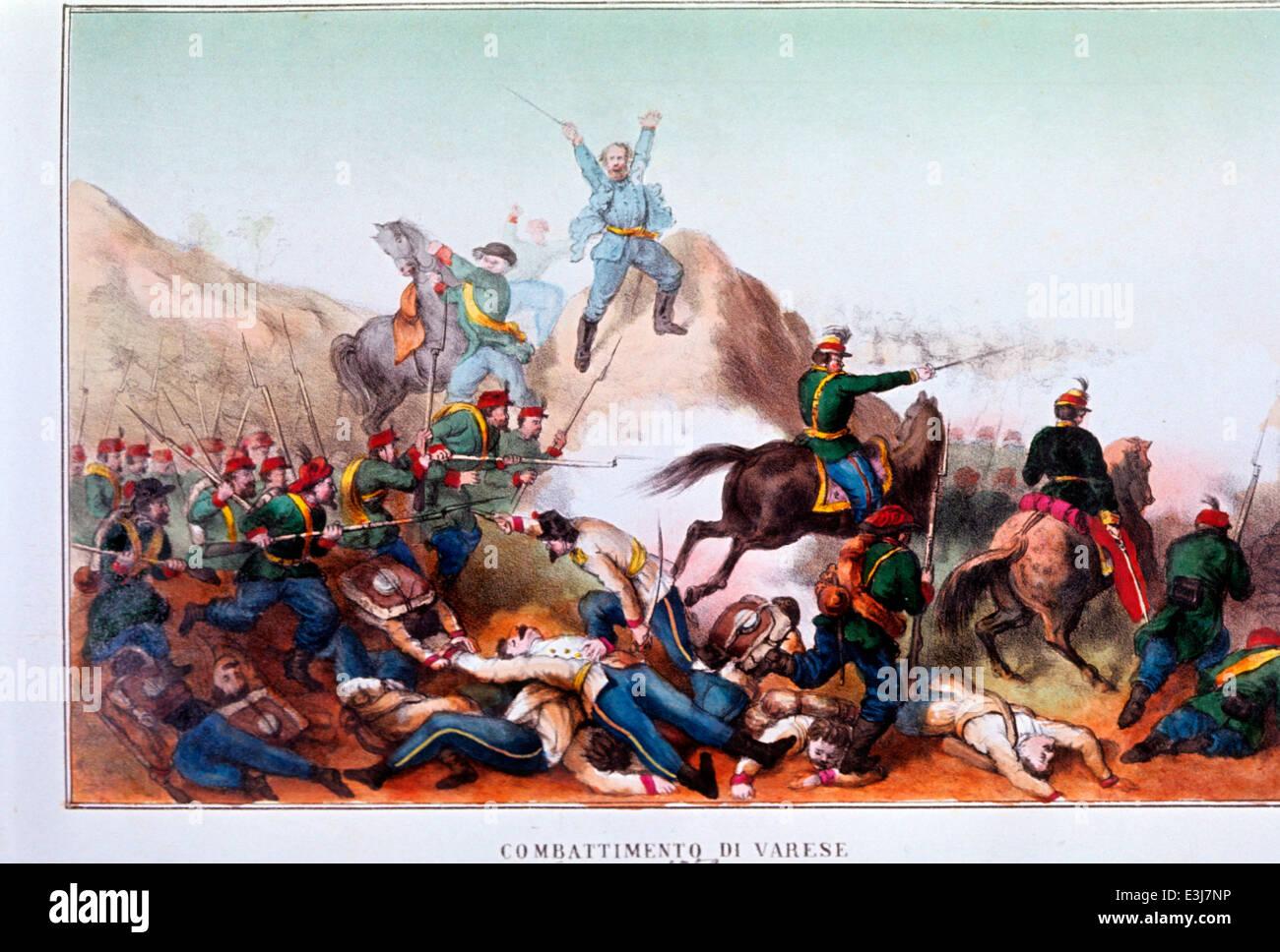 Fighting varese May 1859,giuseppe garibaldi'' - Stock Image