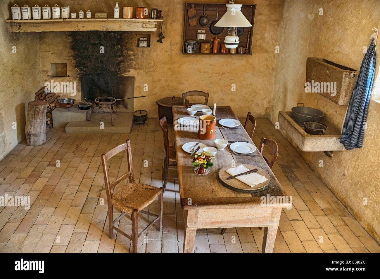 Interior of a Tessin Farmhouse at the Open Air Museum Ballenberg, Berner Oberland, Switzerland. - Stock Image