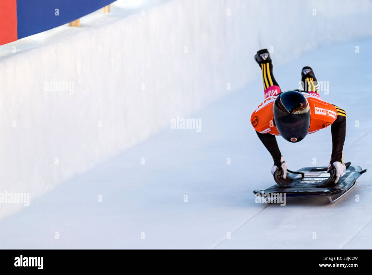 Skeleton rider during the World Cup Championships at the Olympia Bob Run, St Moritz, Switzerland. - Stock Image