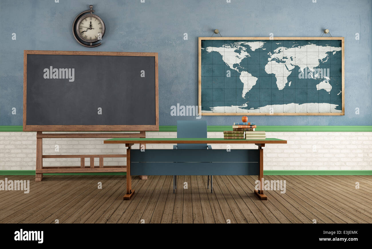 Vintage classroom with blackboard teachers desk and world map on vintage classroom with blackboard teachers desk and world map on wall rendering gumiabroncs Image collections