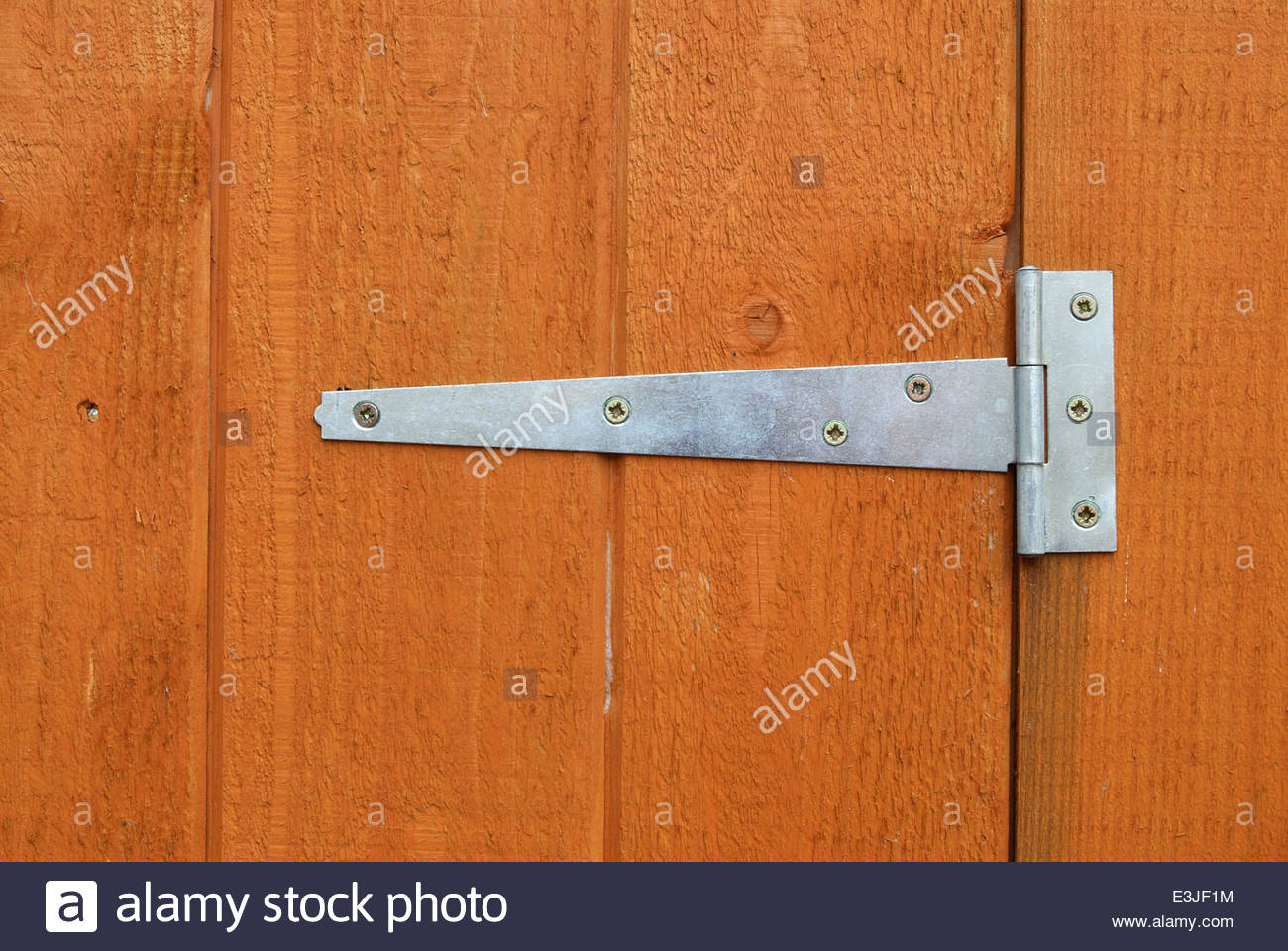 Close up of a hinge fitted to a shed door - Stock Image