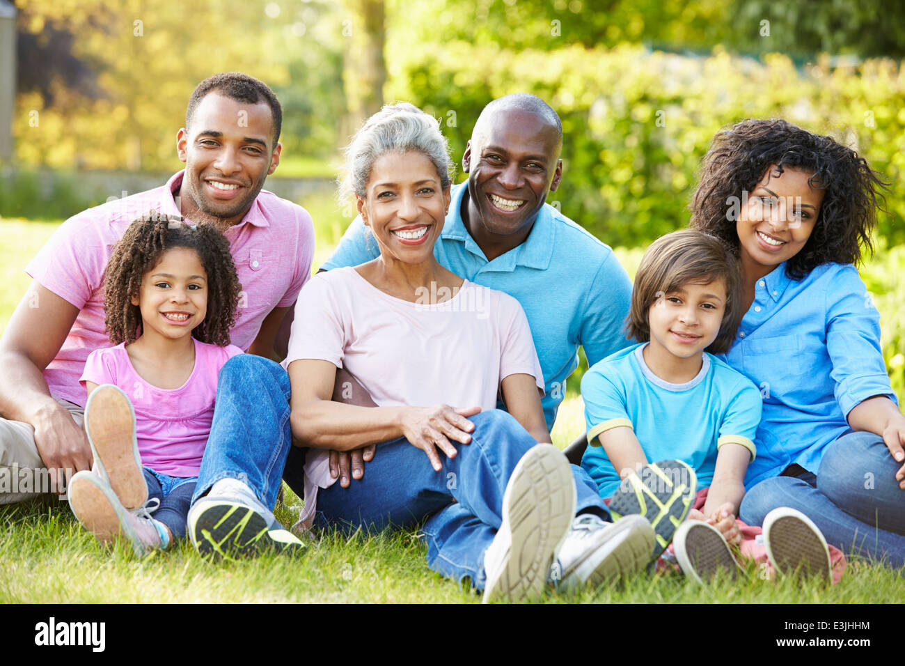 Multi Generation African American Family Sitting In Garden - Stock Image