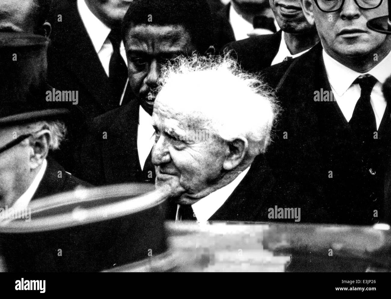 ben gurion at charles de gaulle's funeral rite,1970 - Stock Image