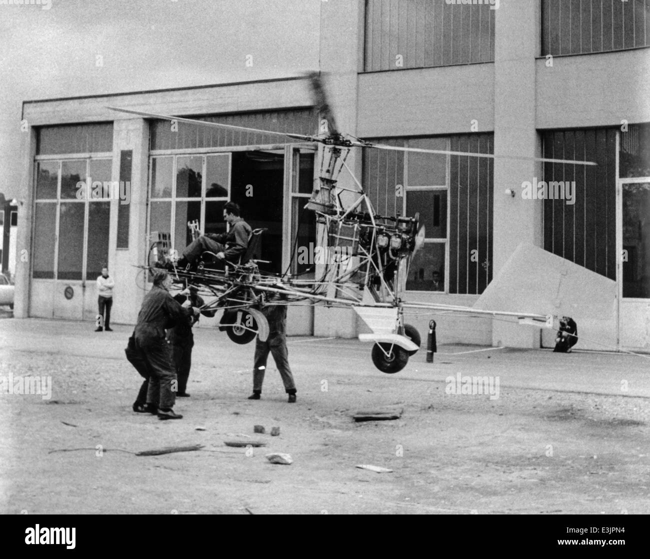 geneva,1967,constructor has developed a new 'flying machine'' - Stock Image