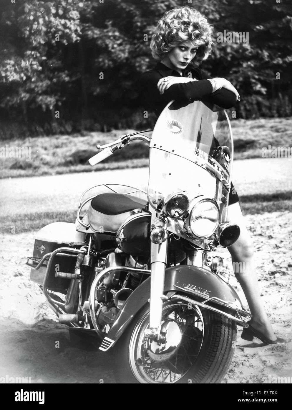 harley davidson girl,70's' - Stock Image