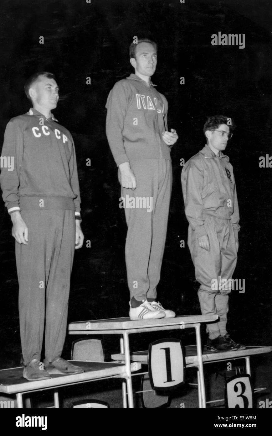 grigorii panitchkine,abdon pamich,donald thompson,VII  european athletics championship,belgrade, 1962 - Stock Image