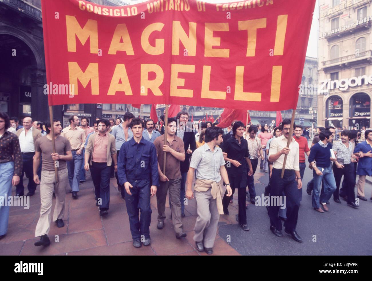 trade union protest of magneti marelli,milan,70's - Stock Image