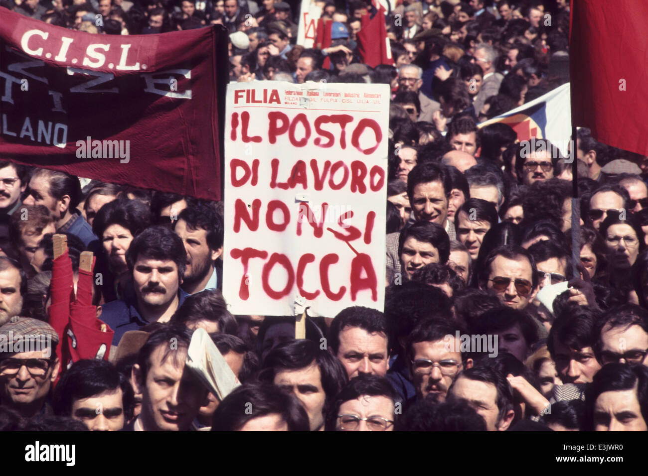 trade union protest,milan,italy,70's - Stock Image
