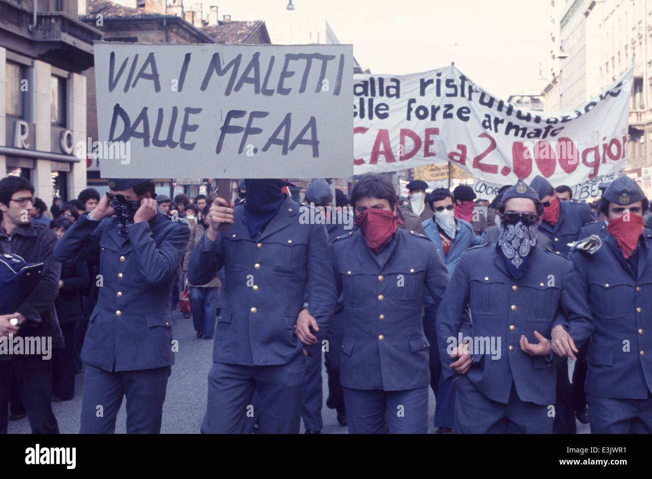 trade union protest,milan,70's - Stock Image