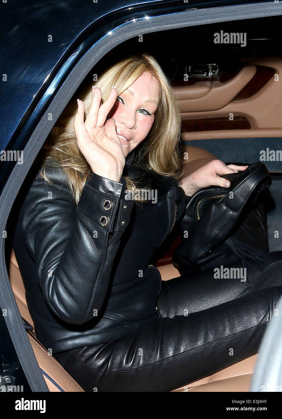 Lloyd Klein and Jocelyn Wildenstein leaving Boa Steakhouse together in West Hollywood  Featuring: Jocelyn Wildenstein Stock Photo