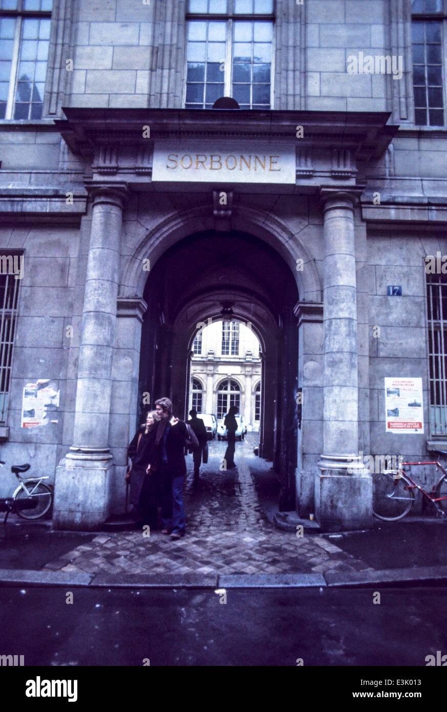 sorbonne university,paris,france,70's - Stock Image