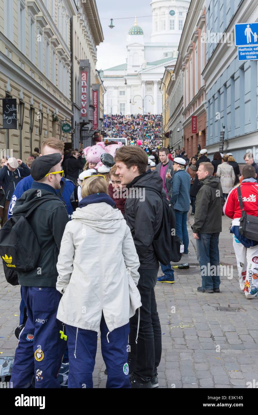 May Day Eve Celebration in Helsinki 2014 at Helsinki Cathedral Stock Photo
