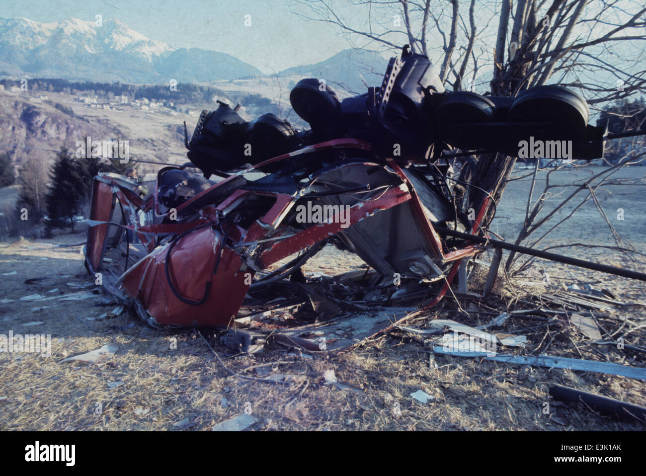 cableway incident,70's - Stock Image