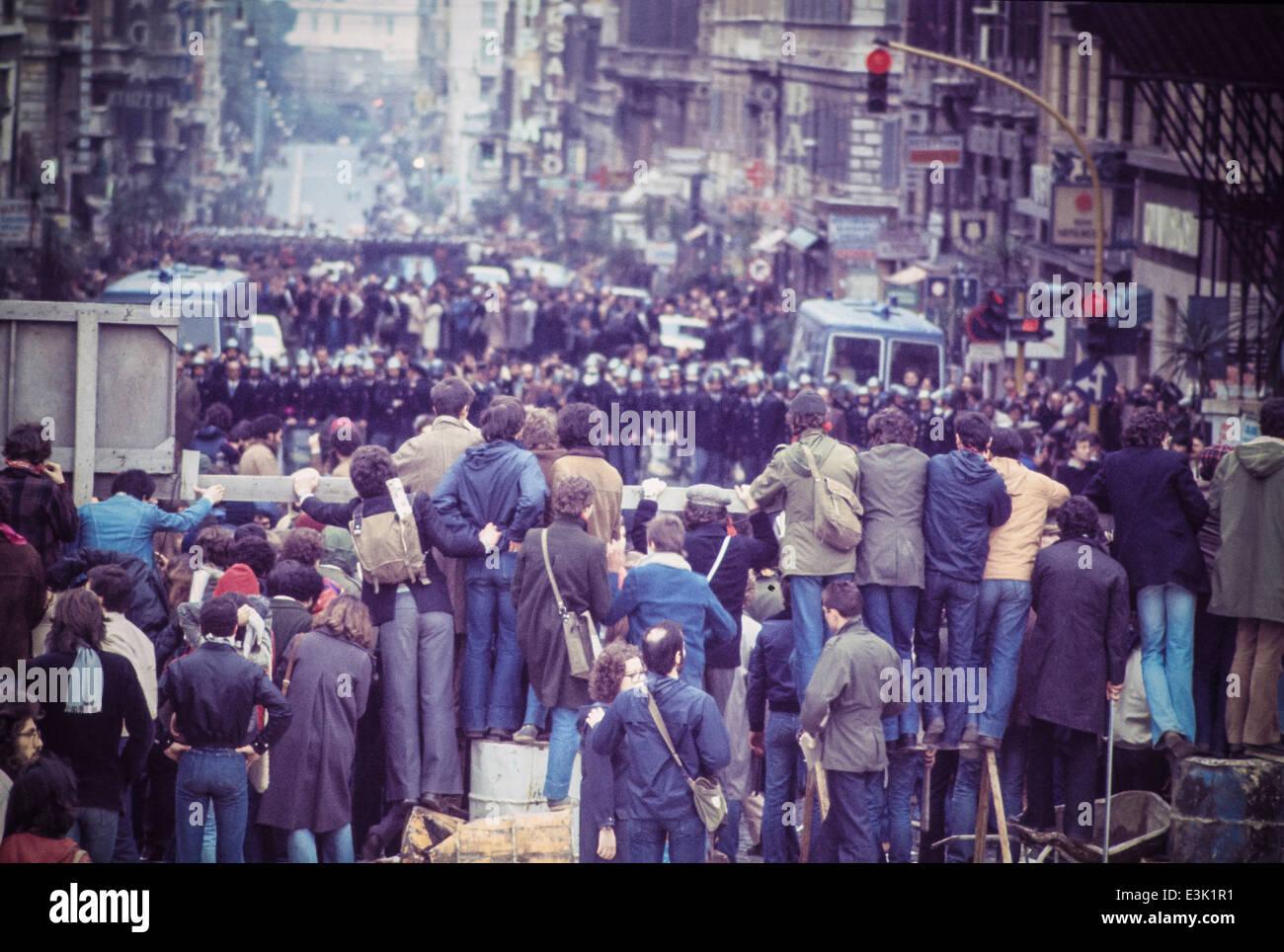 university students demonstration,rome,1970 - Stock Image