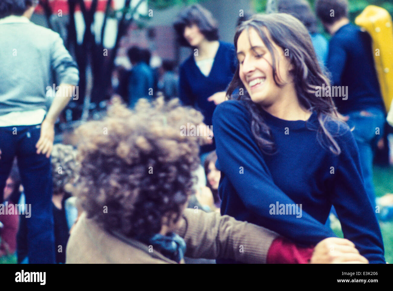young people at pop music festival,70's Stock Photo