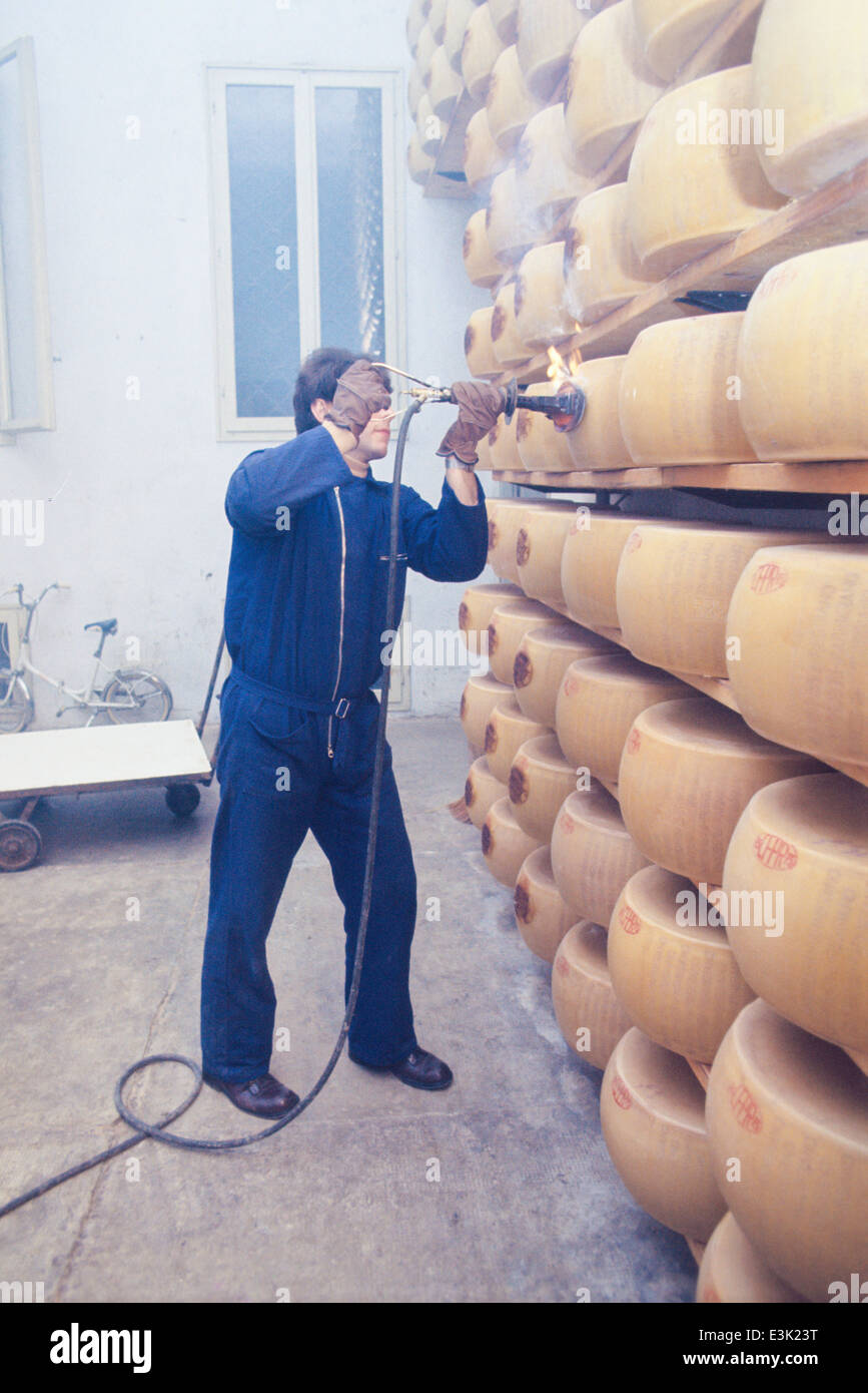 dairy industry,parmigiano reggiano production,70's Stock Photo