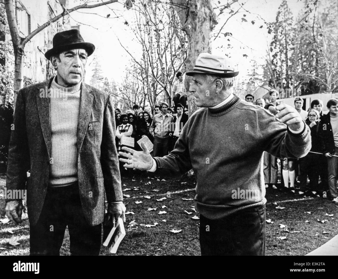 anthony queen and stanley kramer,during the filming of the movie R.P.M.,1970 - Stock Image