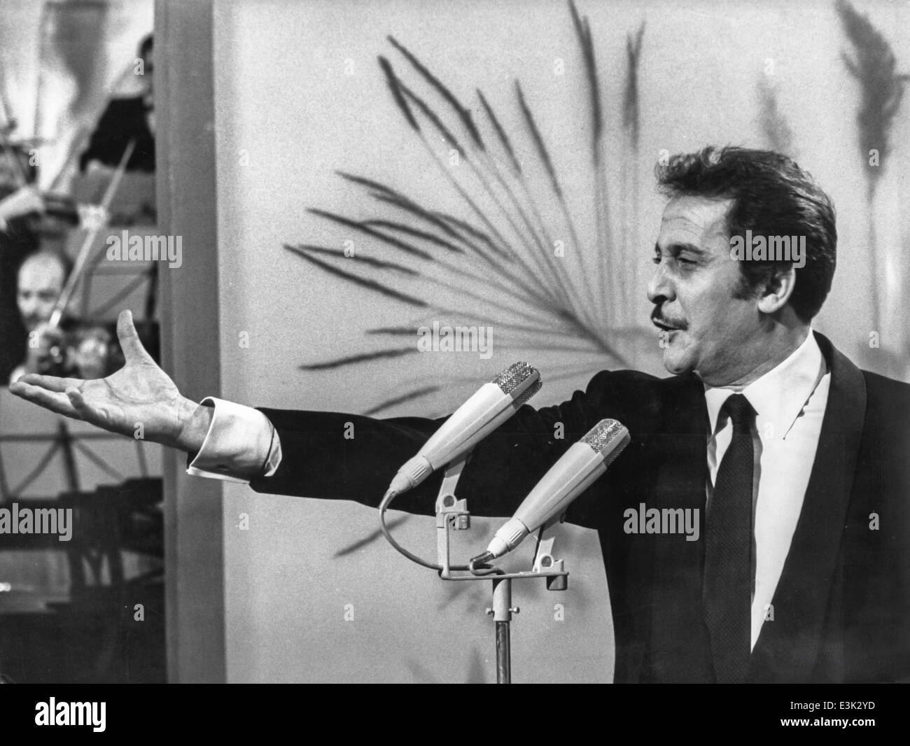 domenico modugno at the grand prix d'eurovision,luxemburg,1966 - Stock Image
