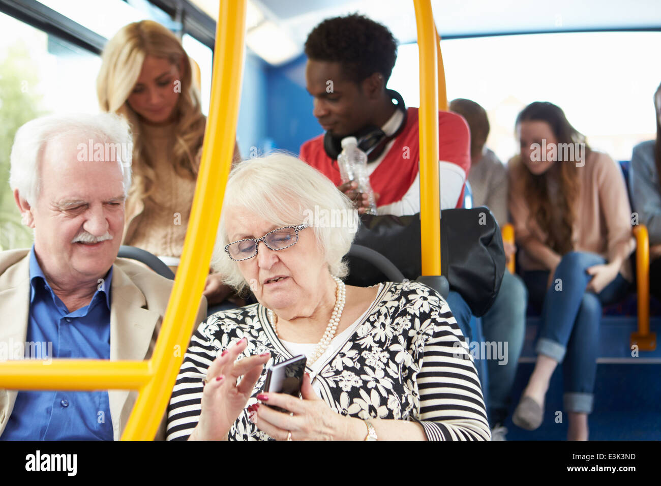 Interior Of Bus With Passengers - Stock Image