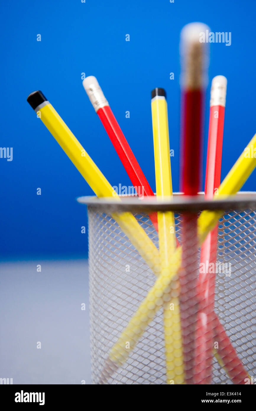 Pencils in Pencil Holder - Stock Image