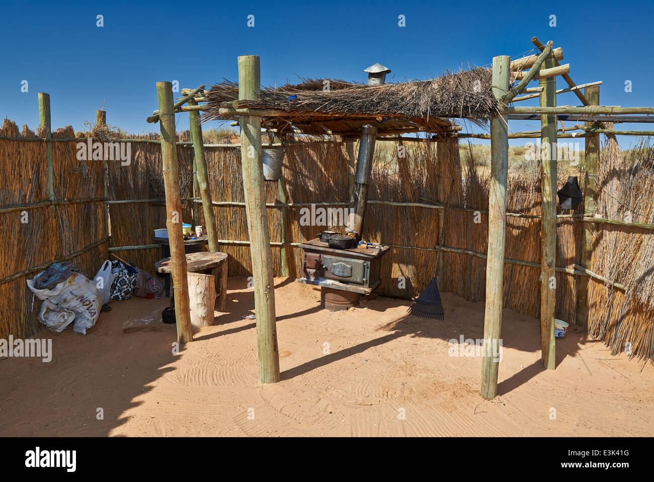San or Bushmen village, Kgalagadi Transfrontier Park, Kalahari, South Africa, Botswana, Africa - Stock Image