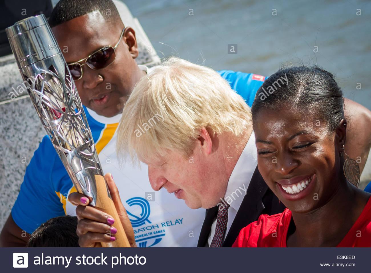 London Mayor Boris Johnson welcomes Commonwealth Games Queen's Baton Relay to London - Stock Image