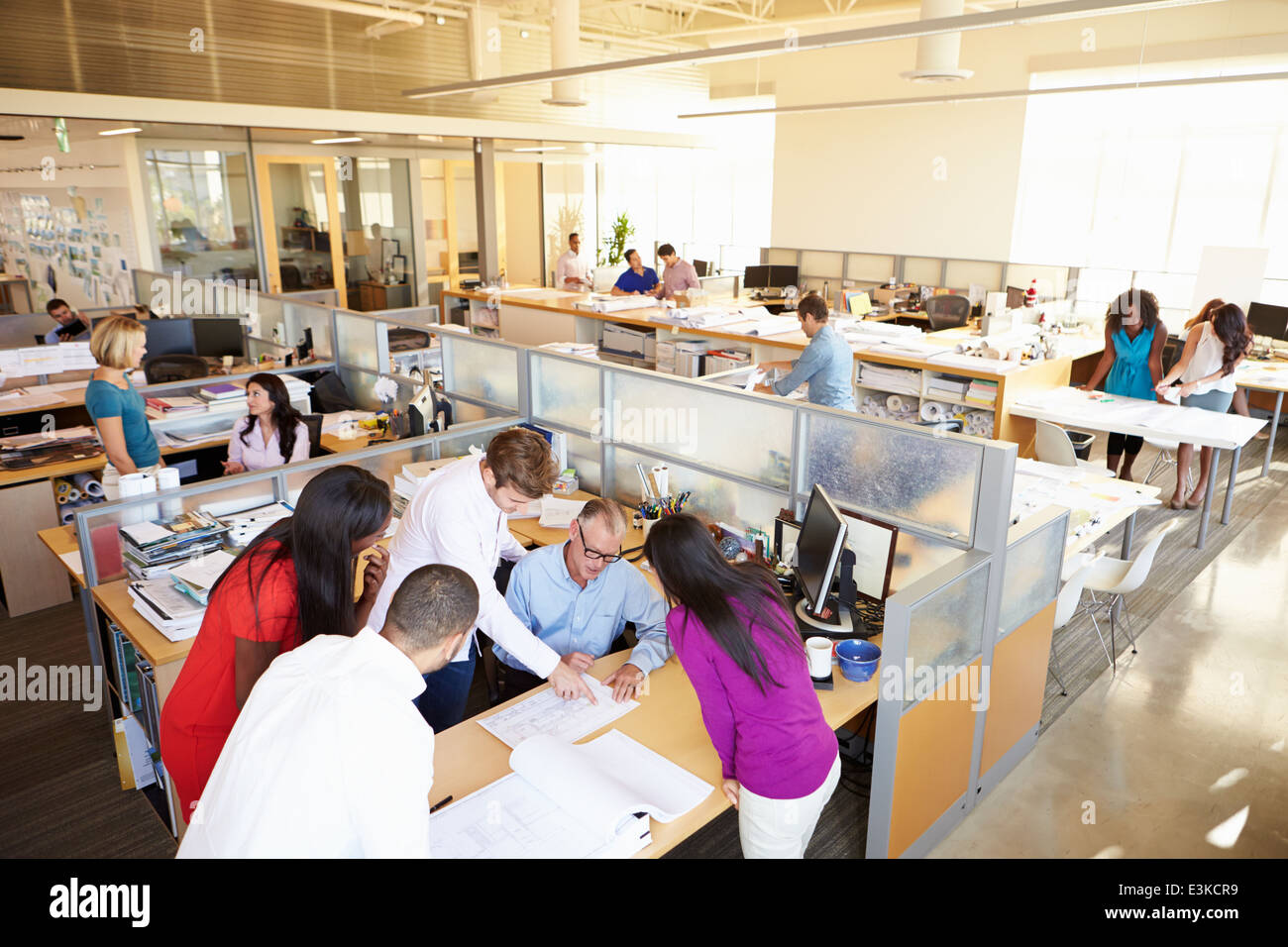 interior of busy modern open plan office stock photo 71112589 alamy