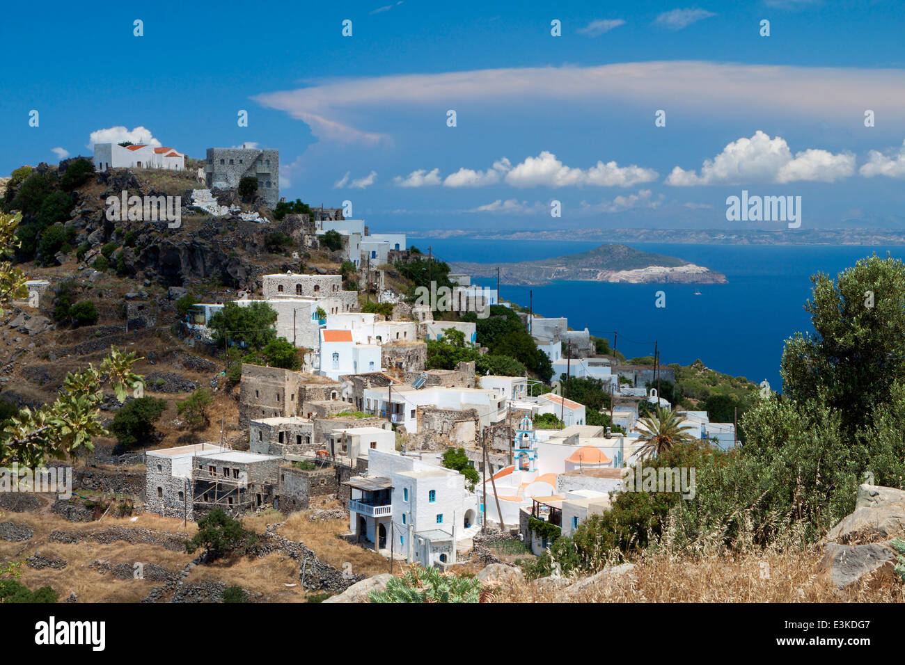 Traditional village of Emborios at Nisyros island in Greece - Stock Image