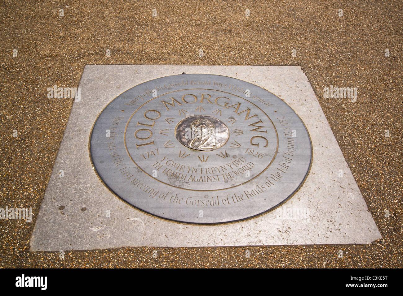 Iolo Morganwg stone memorial plaque, Primrose Hill, London, England, UK - Stock Image