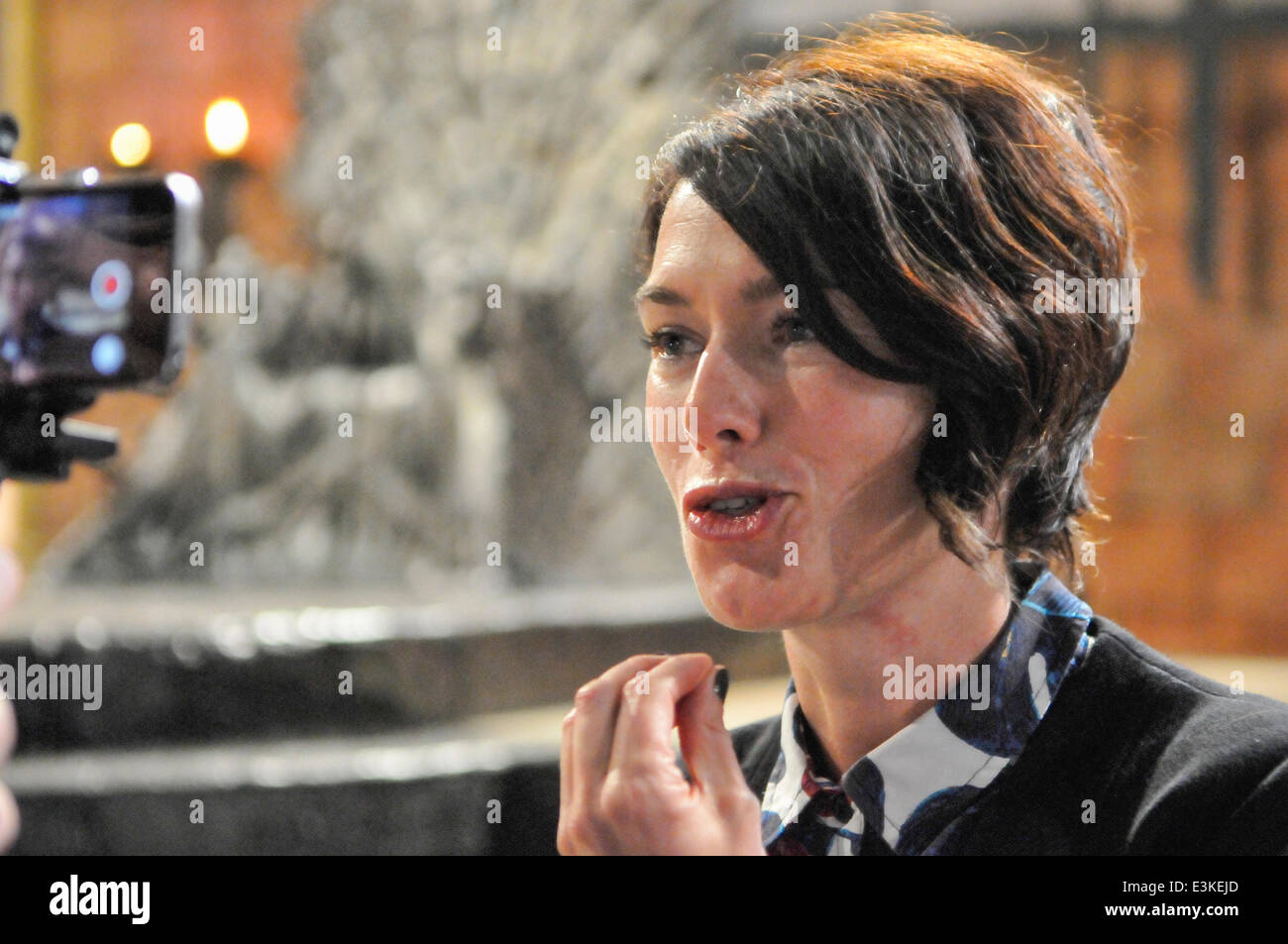 Belfast, Northern Ireland. 24 Jun 2014 - Lena Heady, who plays Queen Cersei Lannister, gives her reaction to meeting - Stock Image
