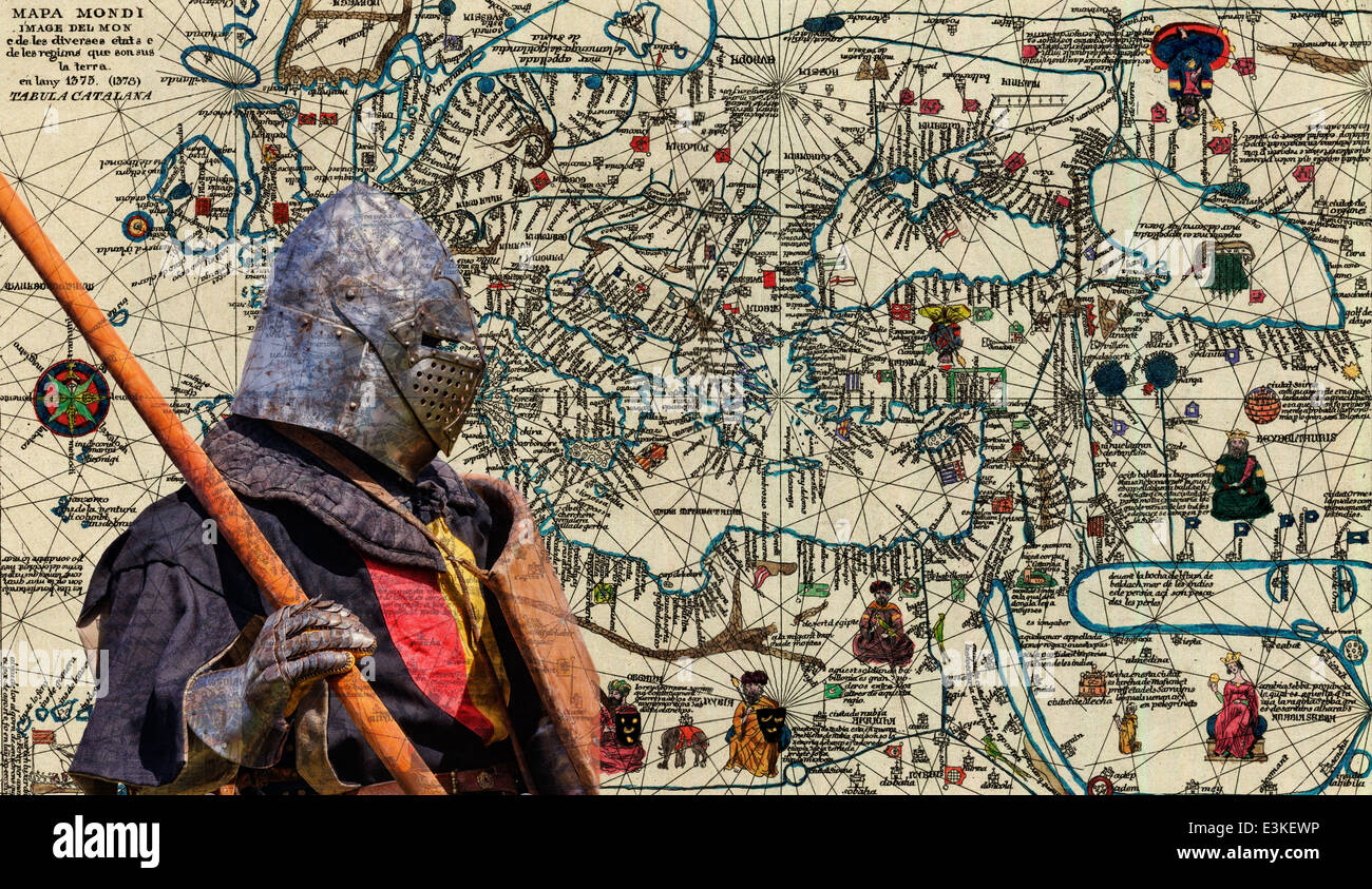 Armored knight - retro postcard on vintage map background - Stock Image