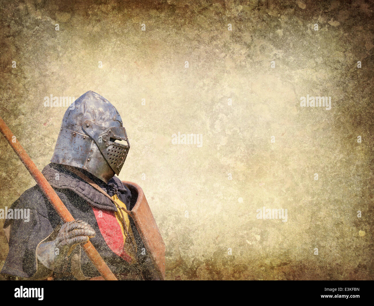 Armored knight - retro postcard on vintage paper background - Stock Image