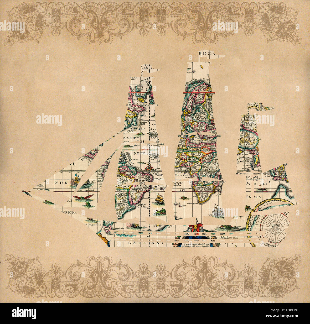 Sailing ship silhouette over antique map - retro postcard on vintage paper background Stock Photo
