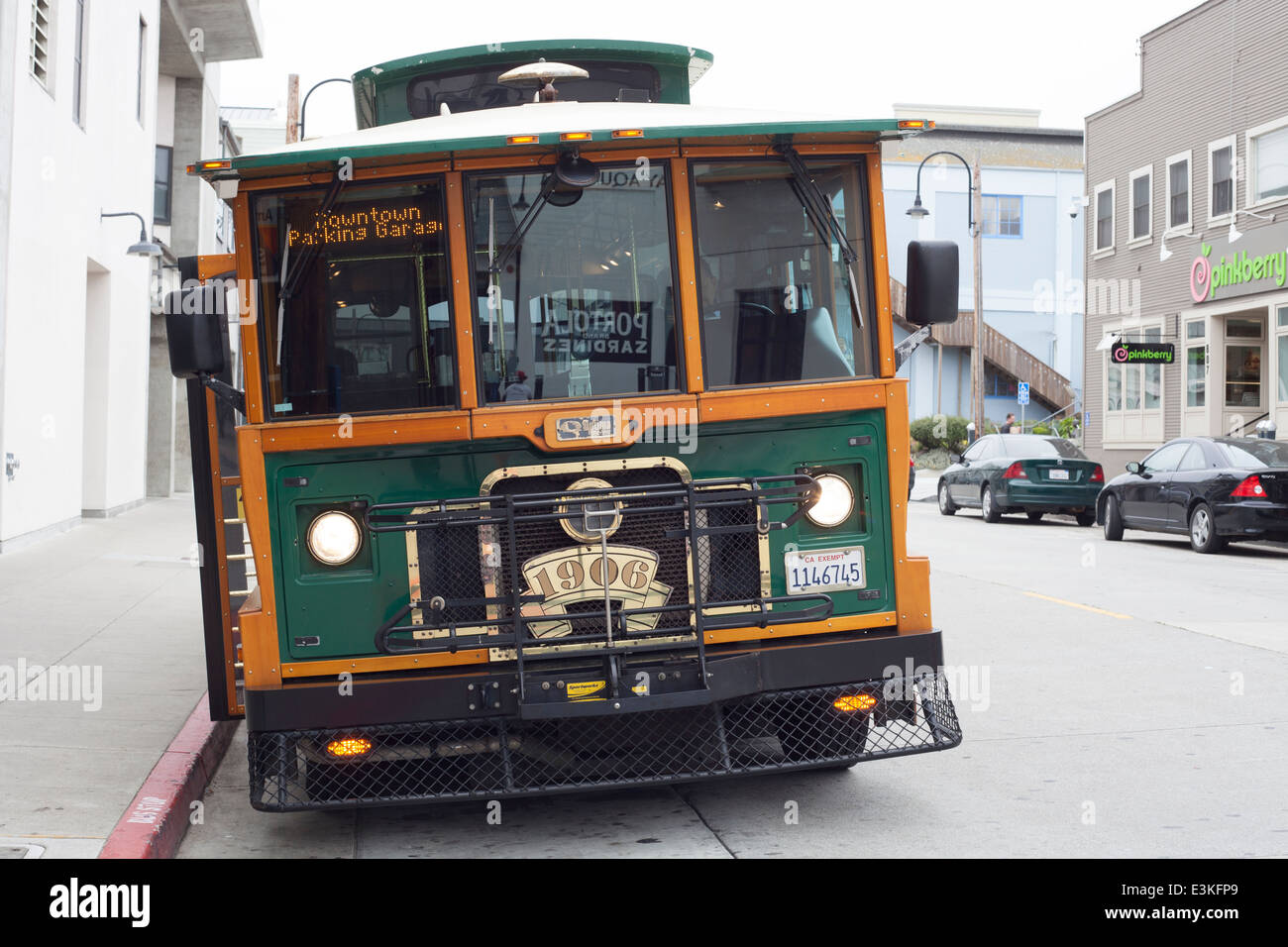 California MST tourist trolley bus Monterey Bay USA - Stock Image