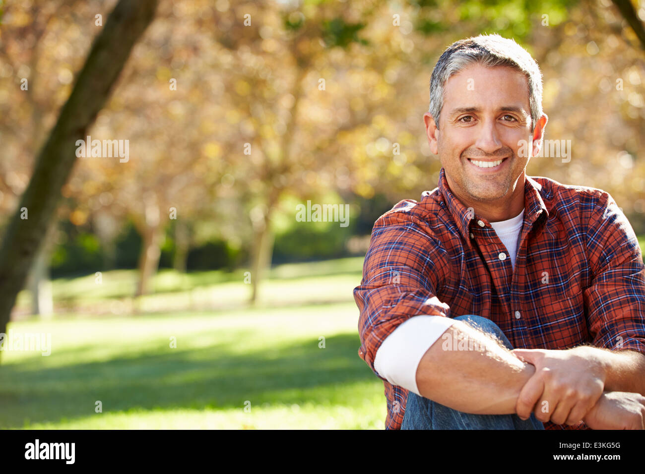 Portrait Of Hispanic Man In Countryside - Stock Image