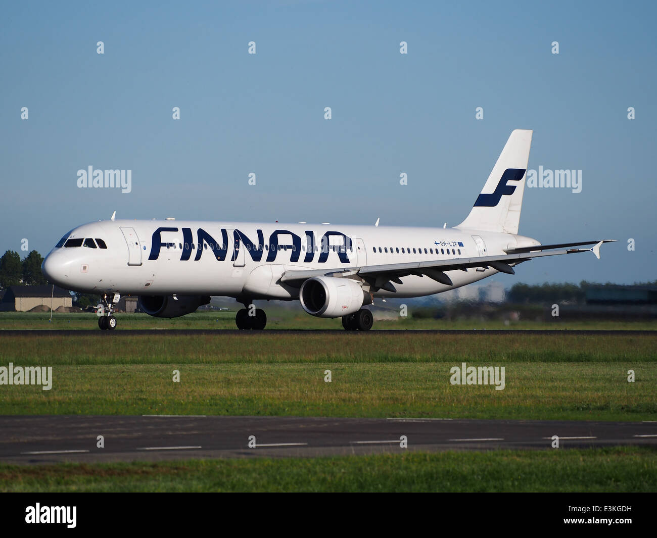 OH-LZF Finnair Airbus A321-211 takeoff from Schiphol (AMS - EHAM), The Netherlands, 11june2014, pic-1 - Stock Image