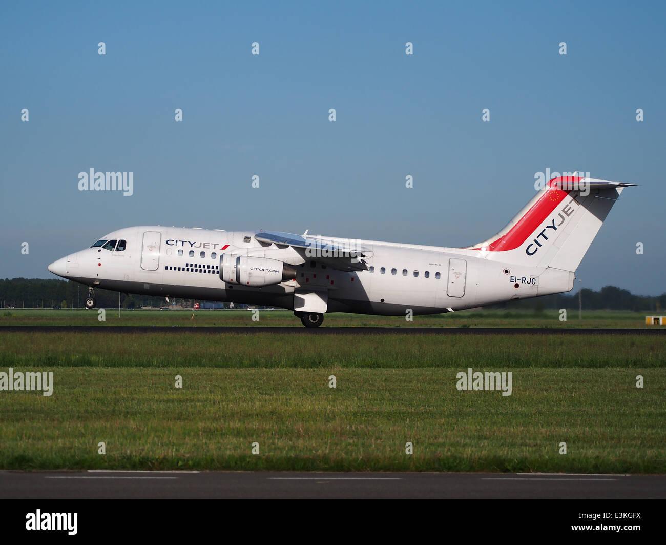 EI-RJC Cityjet British Aerospace Avro RJ85 takeoff from Schiphol (AMS - EHAM), The Netherlands, 11june2014, pic - Stock Image