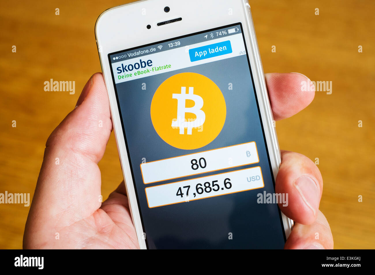 Detail of Bitcoin currency conversion app on iPhone smart phone