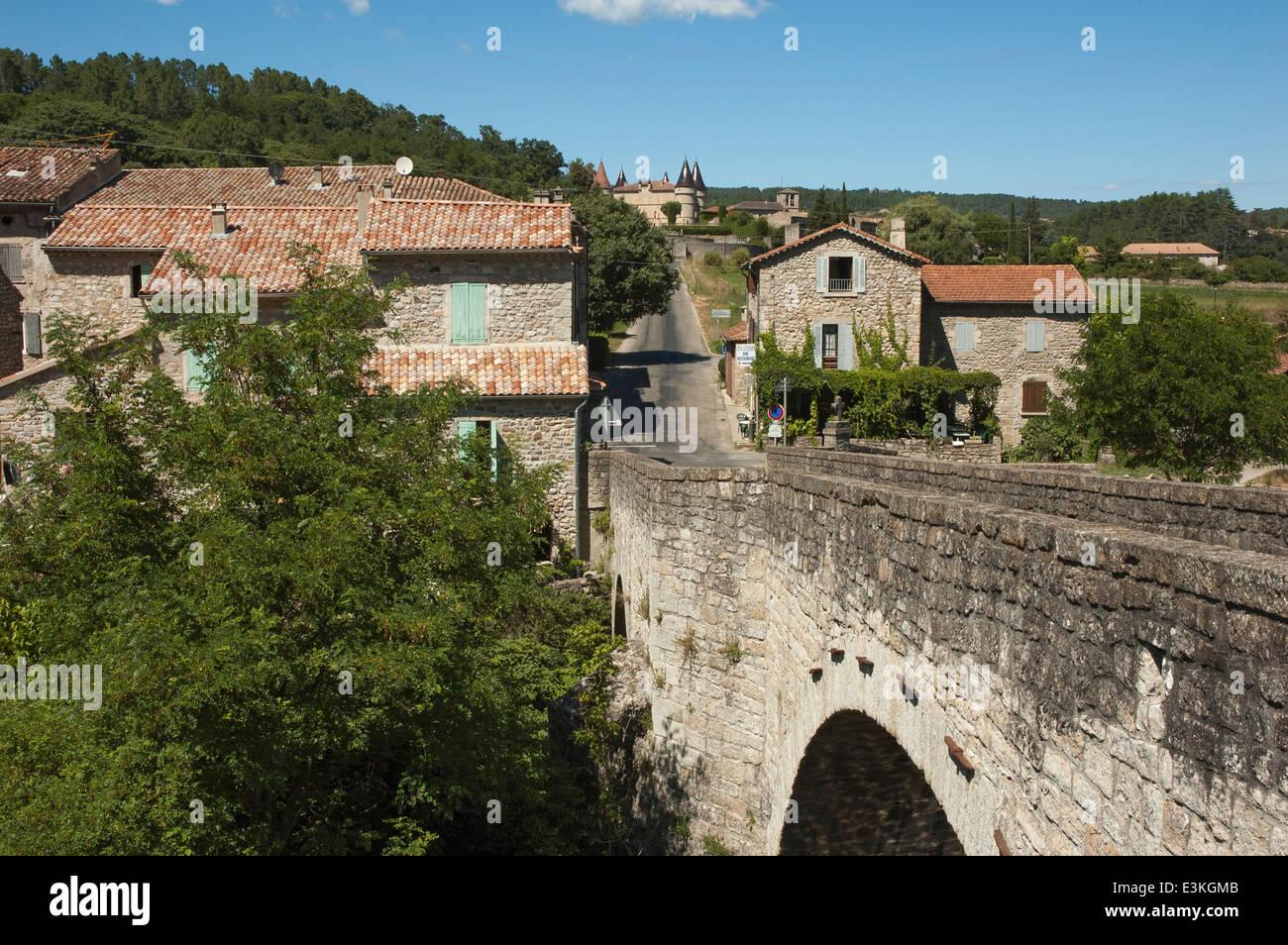 View at 'Le Pont' close to the village 'Les Vans', Ardèche, France ...