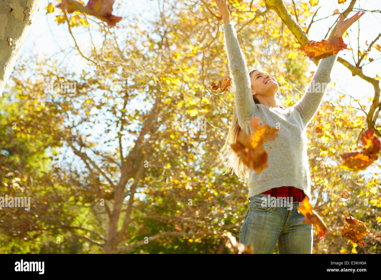 Woman Throwing Autumn Leaves In The Air - Stock Image