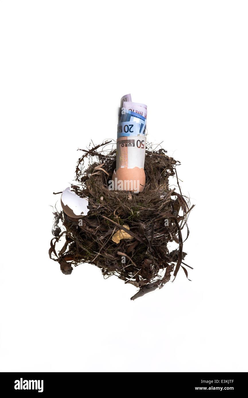 Nest Egg Investment savings pension pot - Stock Image