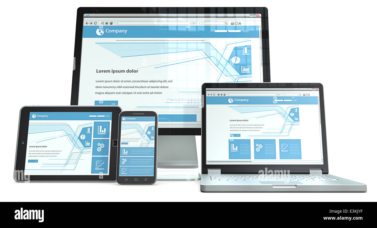 Smartphone,laptop,screen and tablet computer.RWD, No branded. Perspective view. - Stock Image