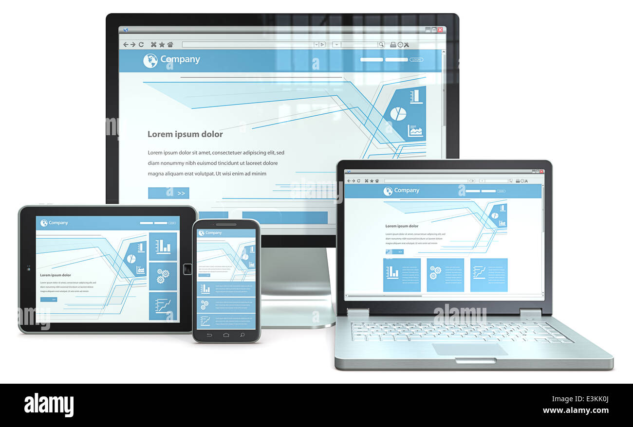 RWD concept with smartphone,laptop,screen and tablet computer. No branded. - Stock Image
