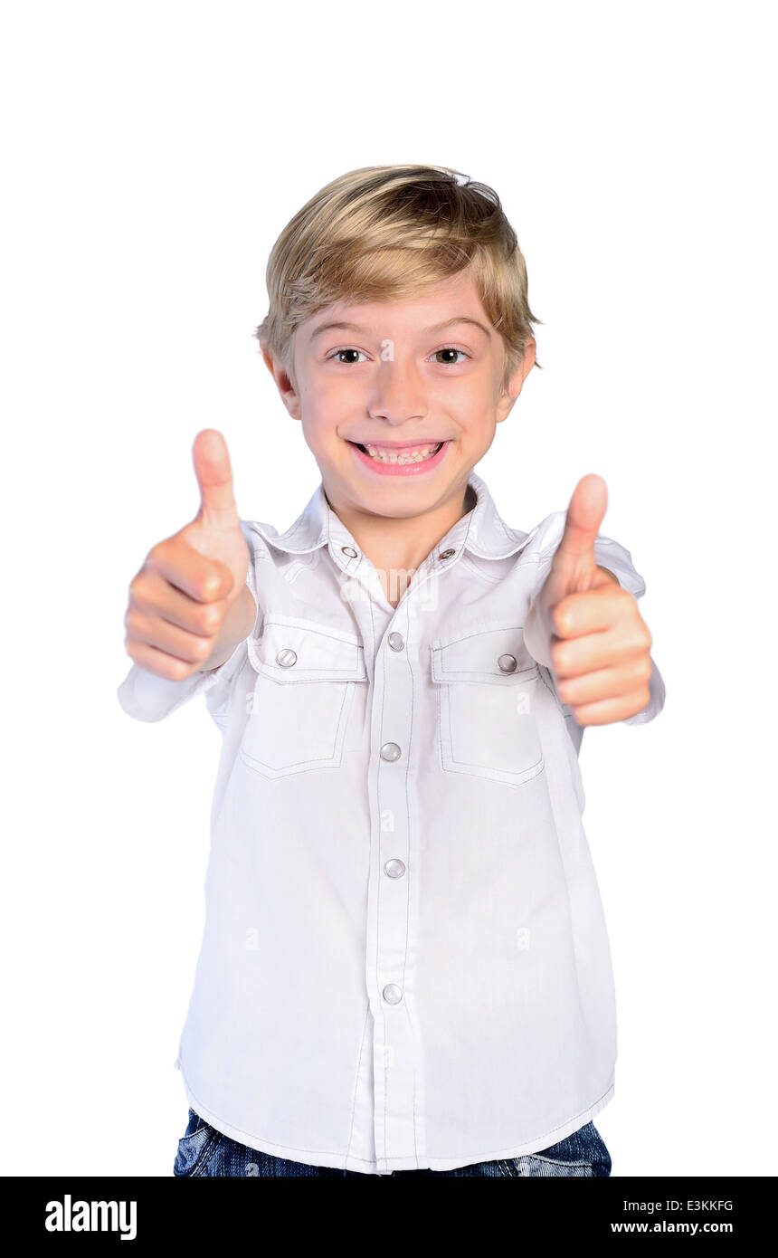 achievement adorable agree alright appreciation approval background beautiful boy cheerful child childhood confident - Stock Image
