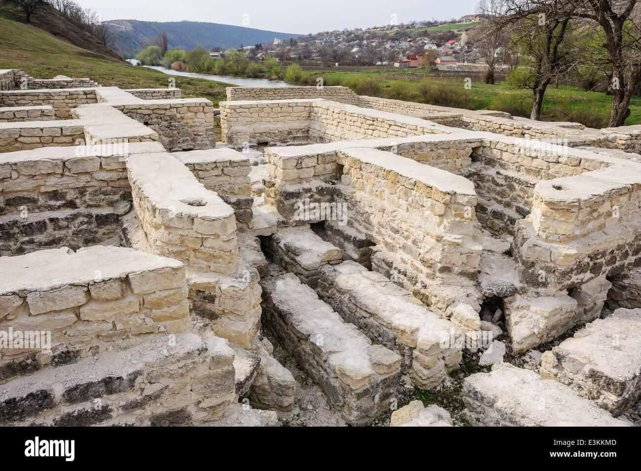 Ruins of public bath, old Orhei, Moldova - Stock Image