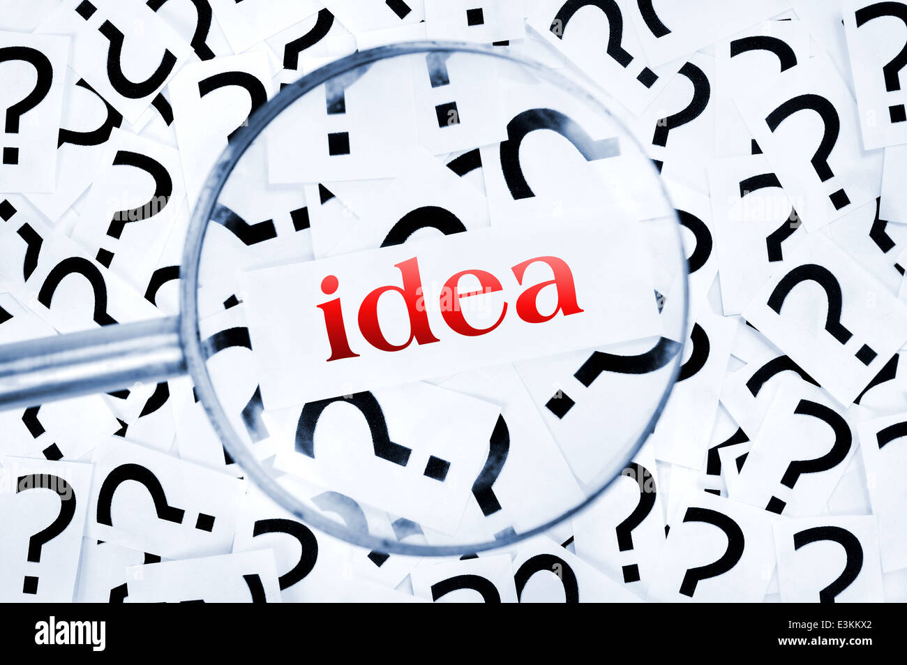 Ideaword found in many question marks - Stock Image