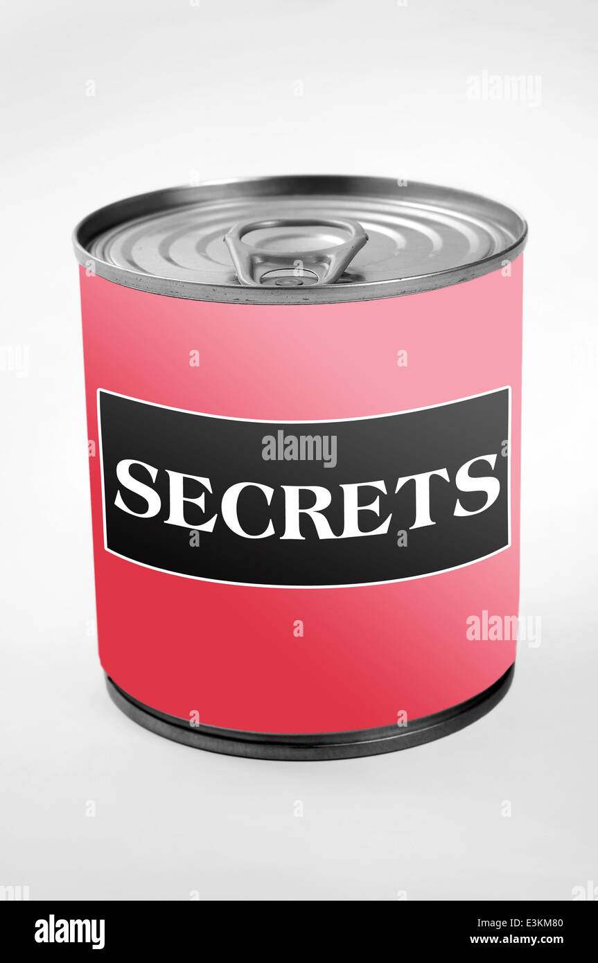 Secrets word on can label - Stock Image