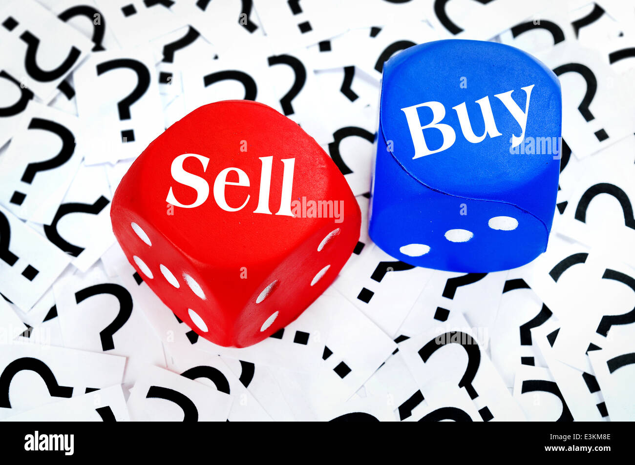 Sell or Buy word on question mark background - Stock Image