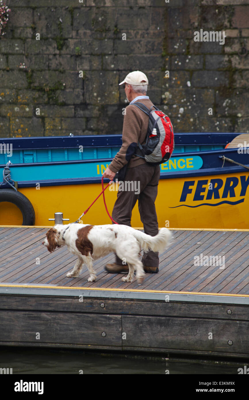 Man with dog heading for Bristol's Ferryboats Independence ferry at Bristol in May - Stock Image