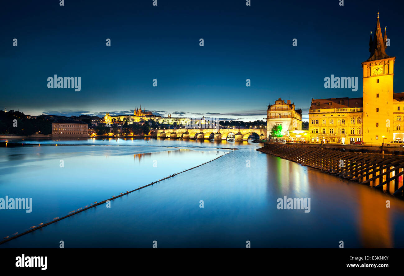 Charles Bridge at night, Prague, Czech Republic - Stock Image